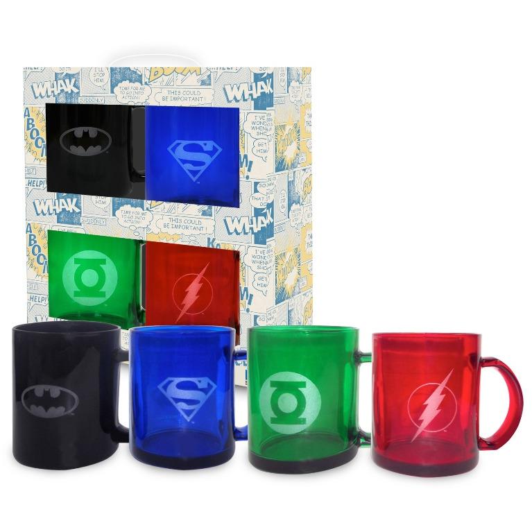 DC Comics set transparante mokken DC logo's, 4 stuks