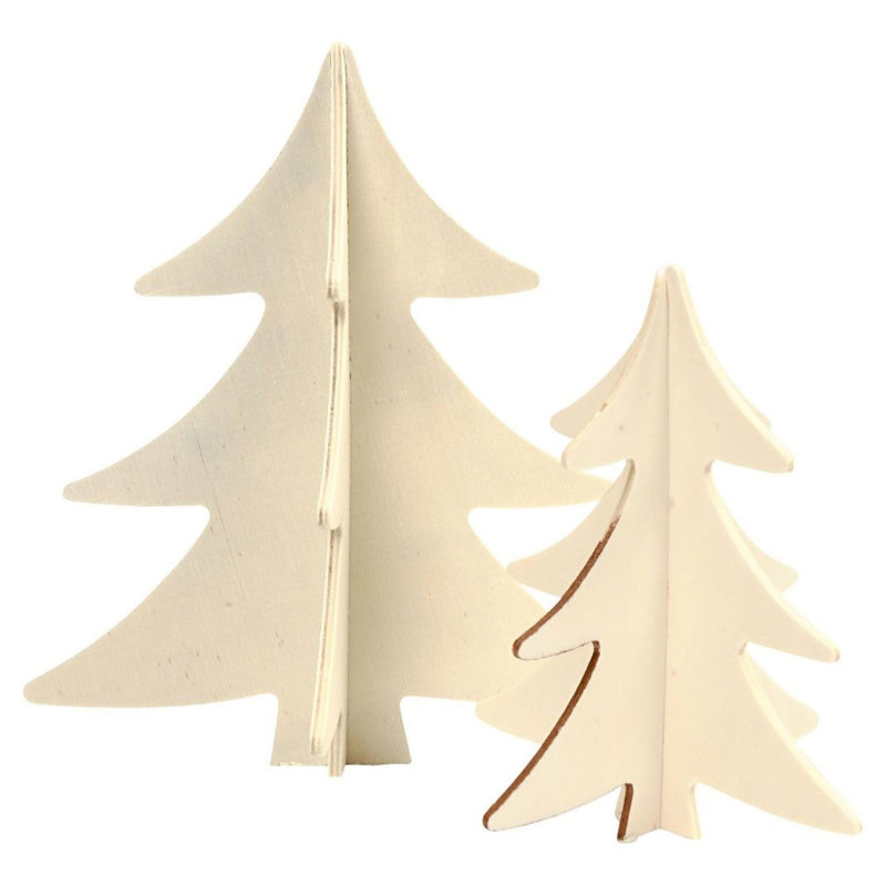 Versier je 3D Houten Kerstbomen, 2st.