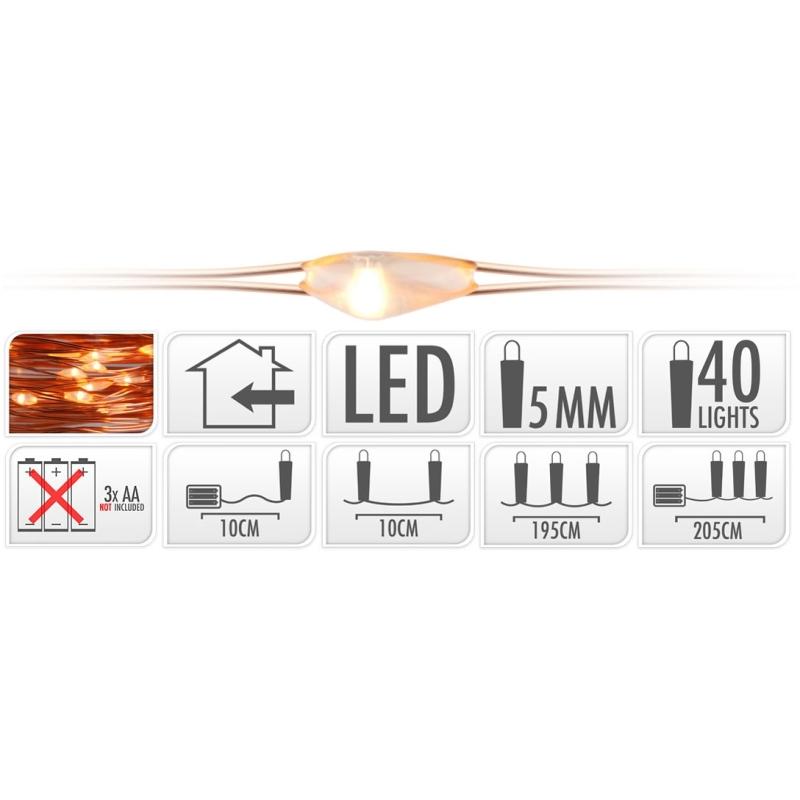 Koperdraad met 40 LED Lampjes kopen