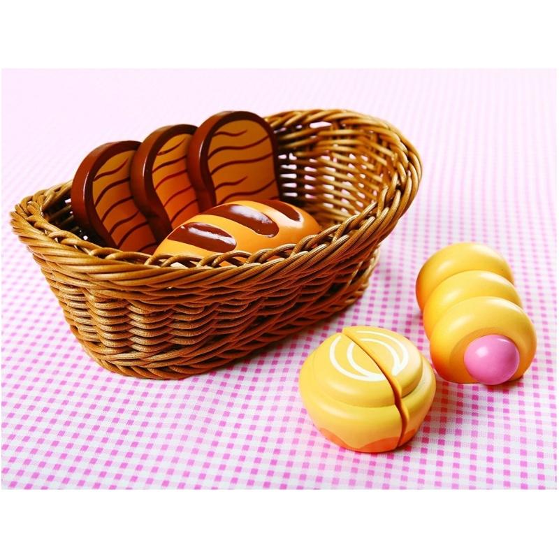 Houten Brood Set in Mand
