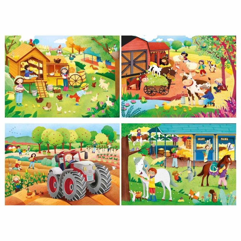 SuperColor boerderij 4-in-1 puzzel, 2x 20 en 2x 60 stukjes
