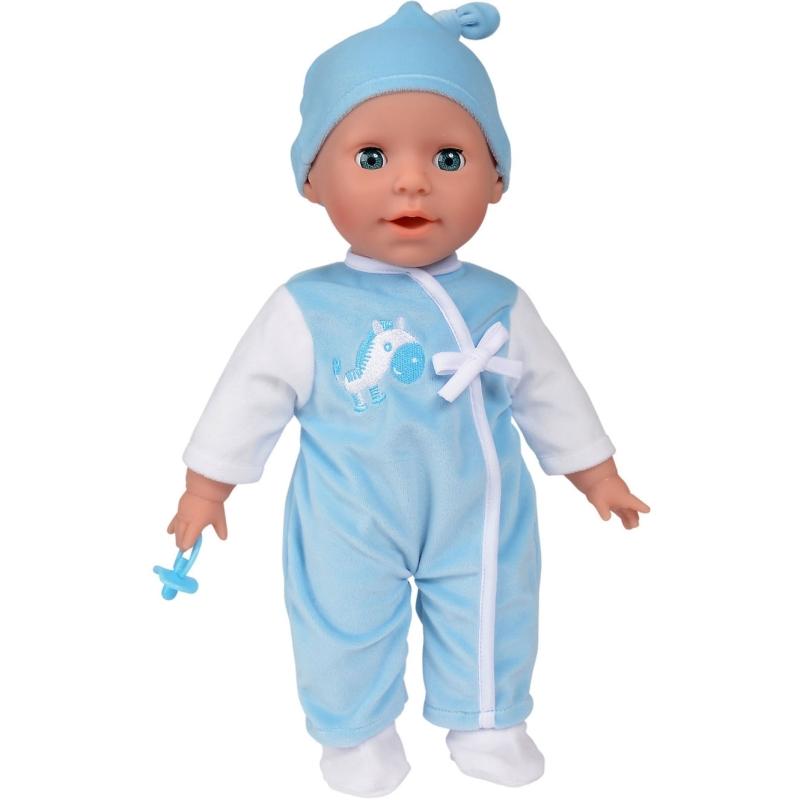 Laura pratende babypop blauw Babbling, 38 cm
