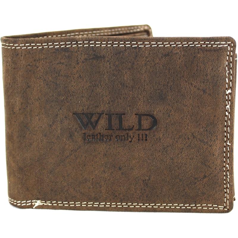 Portemonnee heren leder Wild donkerbruin - 12x2x10 cm -