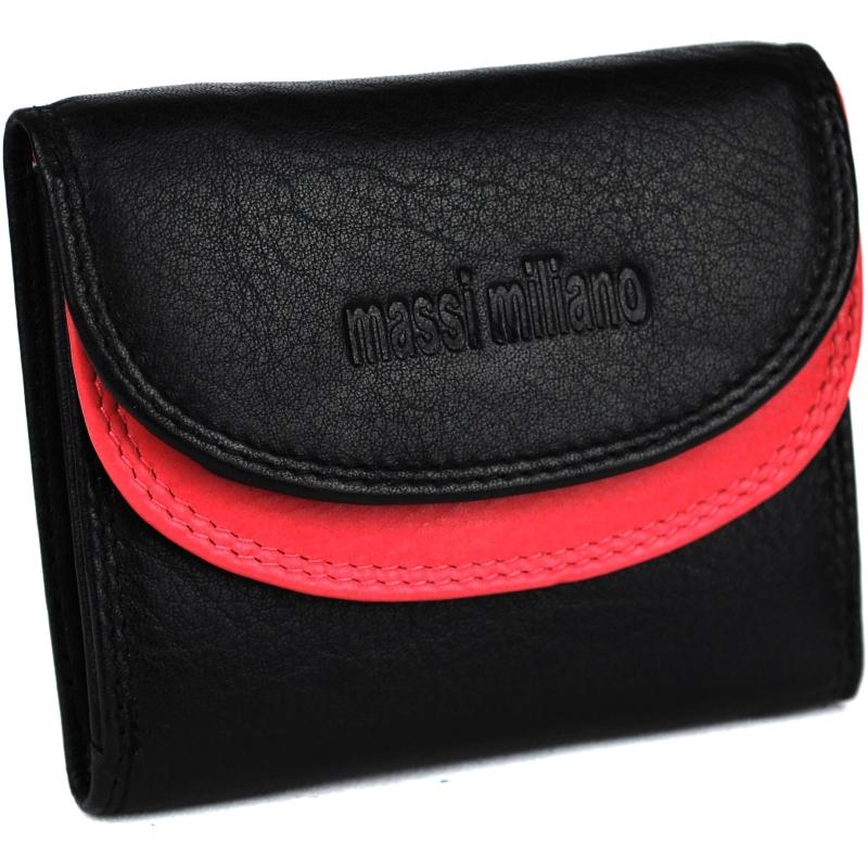 Portemonnee mini leder Massi Miliano zwart/roze - 9x1x8 cm -