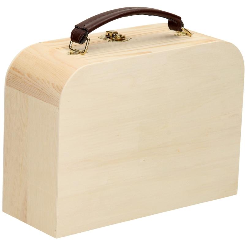 Houten Koffertje met Leren Handvat Grenen