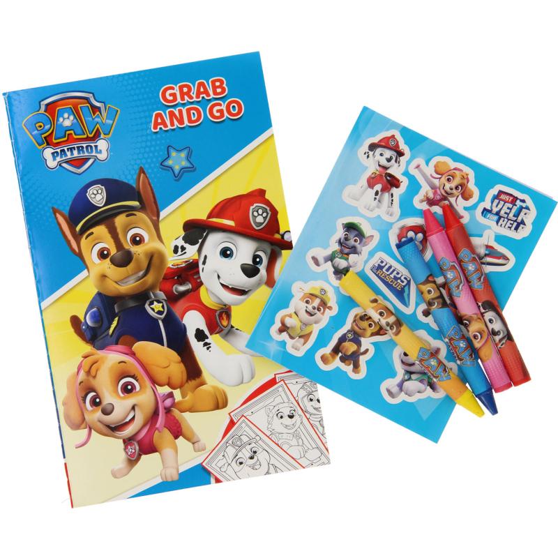 Paw Patrol Kleur- en Stickerset met Waskrijtjes