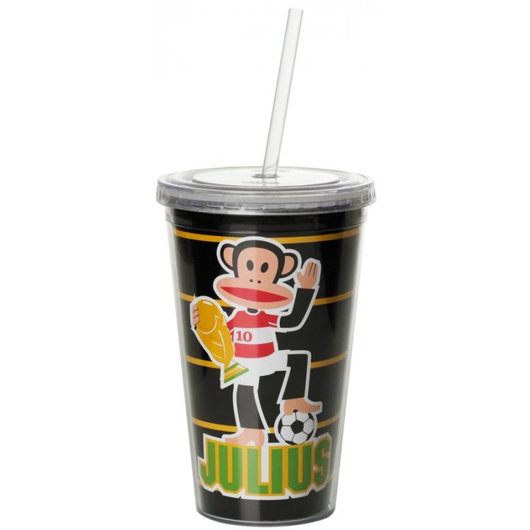 drinkbeker met rietje Soccer zwart