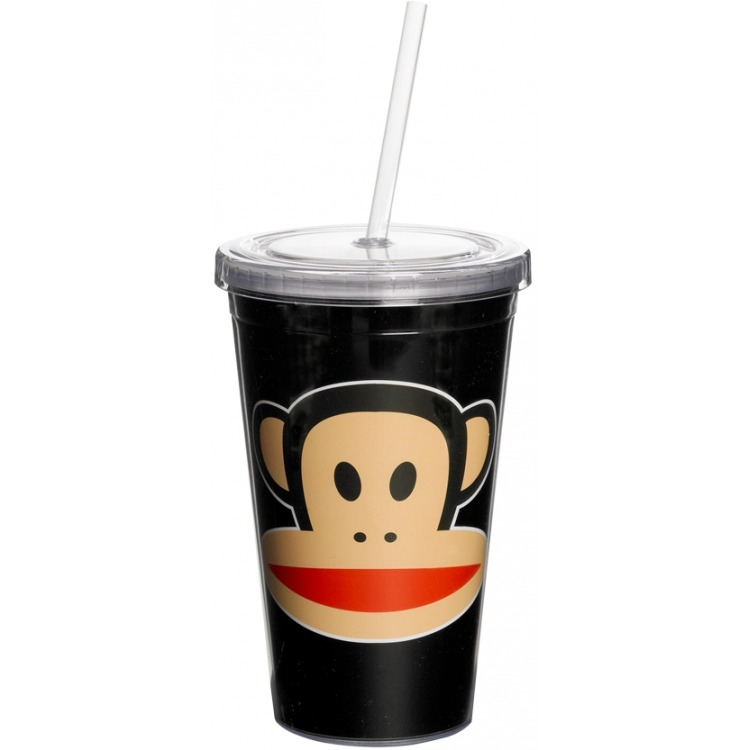 drinkbeker met rietje zwart