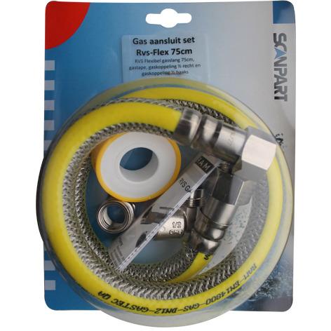 Gasslang aansluitset 1-2 75cm RVS flex PVC