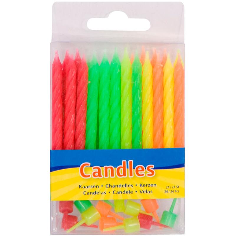 neon kaarsjes, 24 stuks