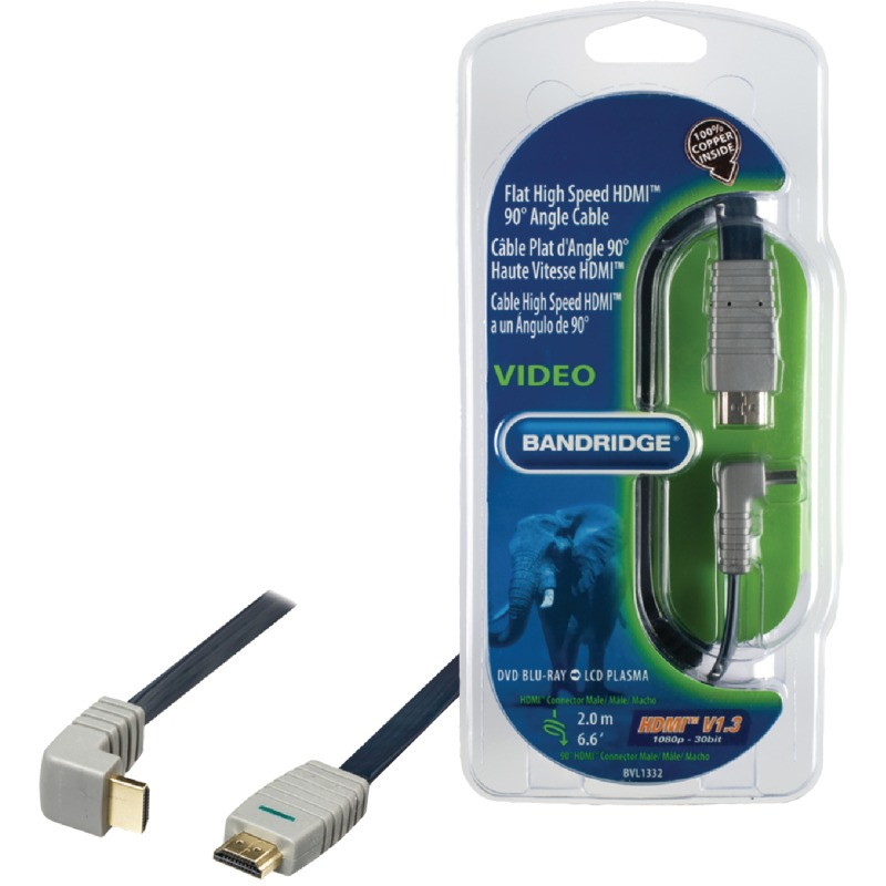 Platte 90 graden Gehaakte HDMI Kabel, 2.0 m